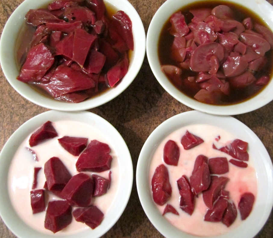 Heart & Kidney, trimmed and soaking in milk and vinegar