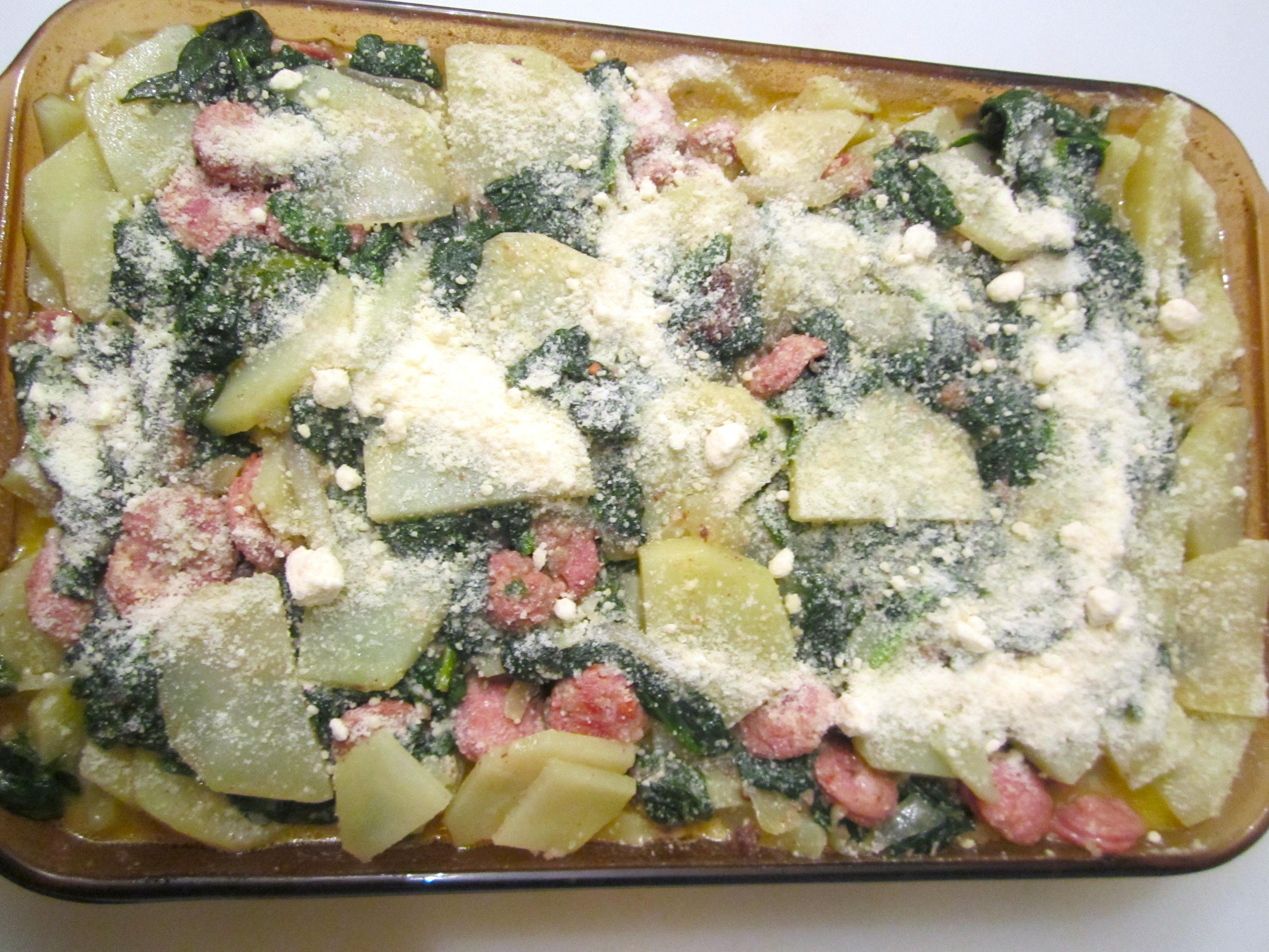 Spinach, Potato, Sausage & Cheese Casserole | ChefsOpinion