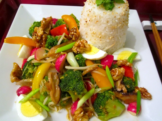 Stir Fried Vegetables, Egg & Fan