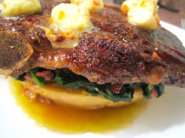 Cowboy Steak, Spinach & Chili Butter
