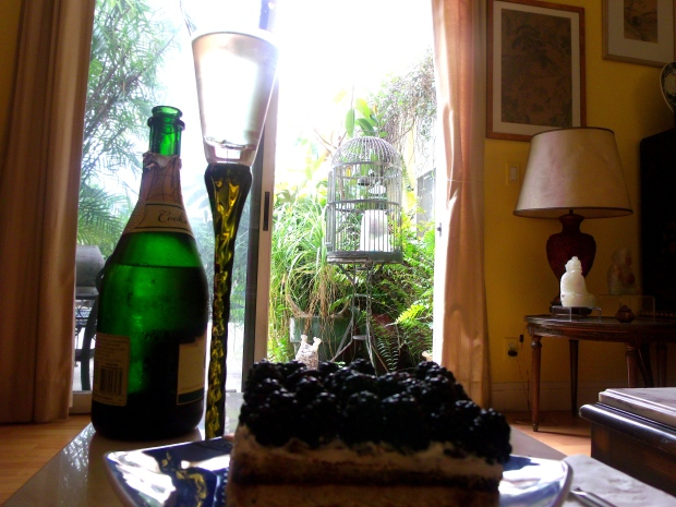 Blackberry Topped Tiramisu & Bubbly. Life is Good !