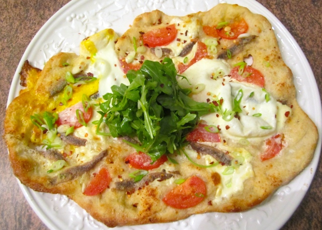 Pizza With Anchovies, Mascarpone, Tomato & Egg