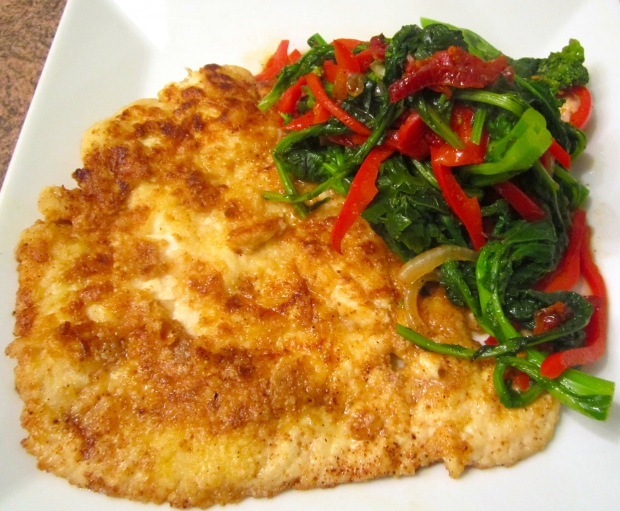 Paillard Of Chicken With Broccoli Rabe, Peppers & Sun Dried Tomatoes