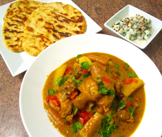 Pigs Tail And Potato Curry, Naan & Cucumber Raita