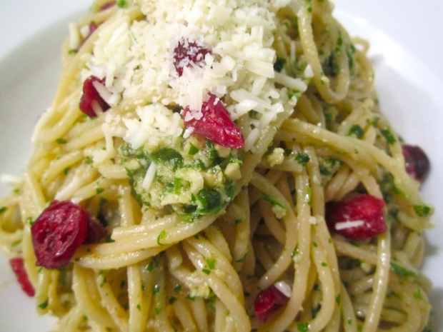 Spaghetti With Walnut, Cashew & Cilantro Pesto, Dried Cranberries and Pecorino Romano