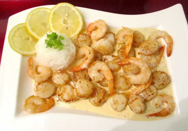 Sauted Scallops & Shrimp In Whole Grain Mustard Cream