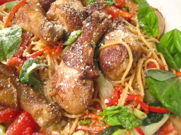 Spaghetti With Chili, Tomato, Basil, Parmigiano Reggiano, Cream & Red Wine
