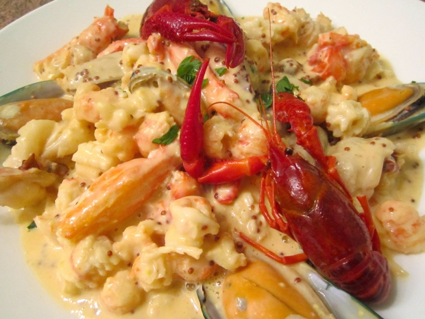 Seafood In Whole Grain Mustard Cream