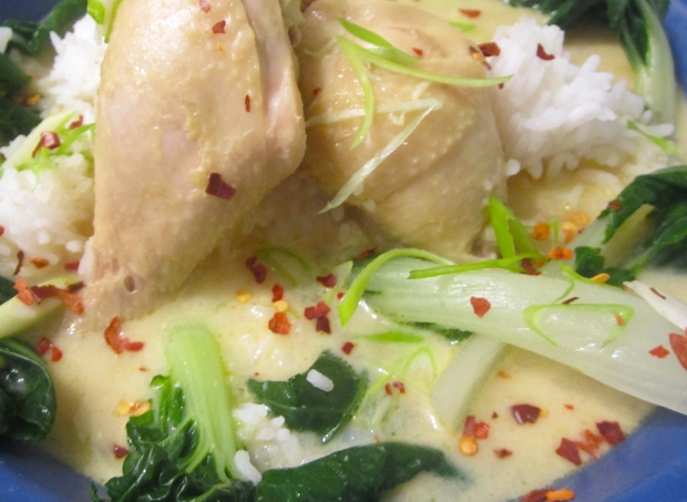 Chicken, Bok Choy & Rice In Spicy Coconut Broth