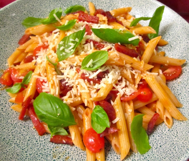 Penne Rigate In Merlot/Vodka/Yoghurt  Sauce With Pepperoni & Fresh Basil