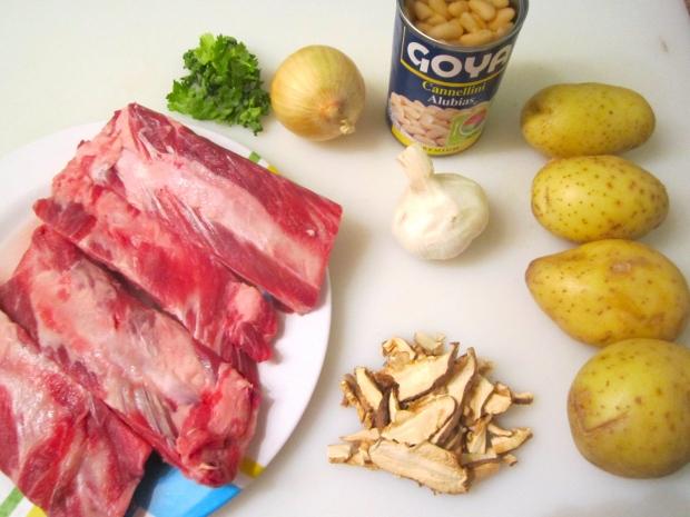 Beef Ribs, Potato, Cannellini, Garlic, Onion, Shiitake, Cilantro