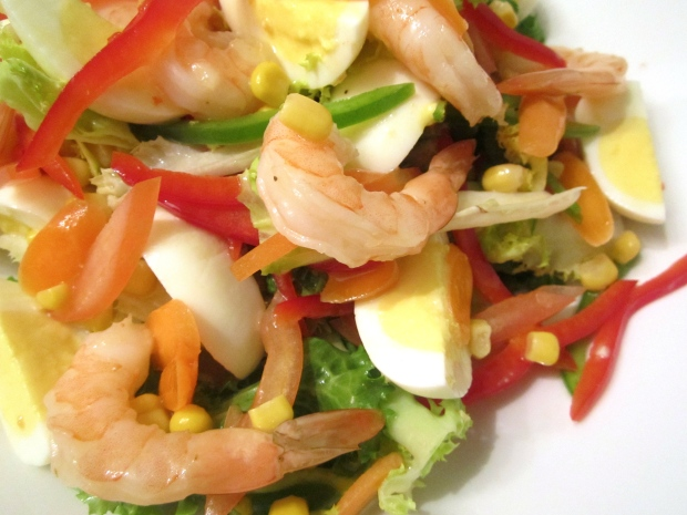 Frisée With Shrimp, Egg, Corn, Peppers & Honey / Lime Vinaigrette