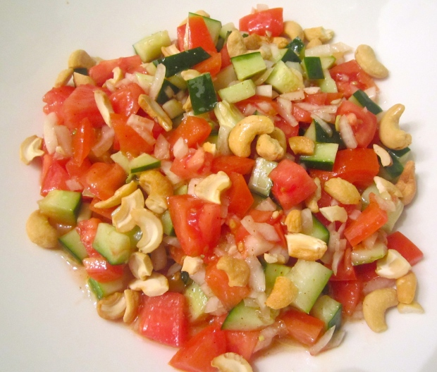 Dice Onion, Tomato, Cucumber, Slice Scallions. Dress With White Balsamic Vinegar, Oil, Salt , Chili and Roasted Garlic Puree.