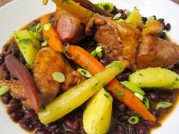 Spicy Stew Of Black Beans, Chicken, Potato & Baby Rainbow Carrots