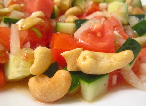 Sprinkle Salad With Salted Cashew Nuts