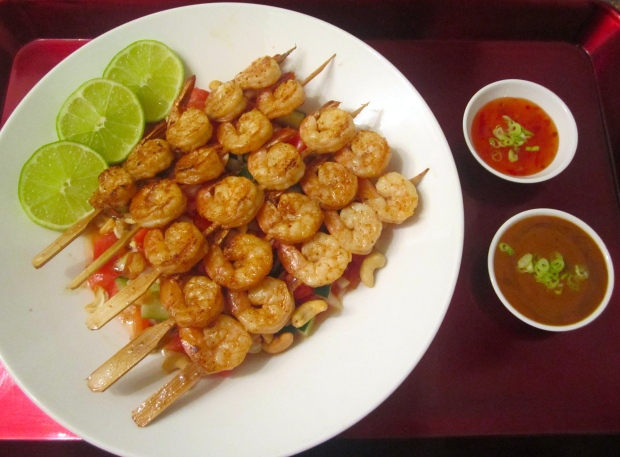 Serve Shrimp Over Salad, Accompany With Lime, Peanut Sauce And Sweet Chili Sauce