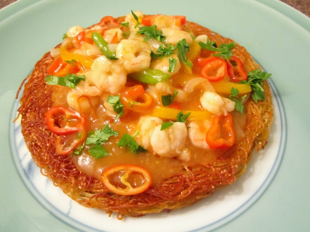 Crispy Noodle Cake & Ginger/Garlic Shrimp