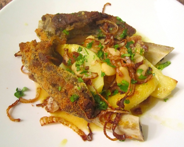 Gratinated Beef, Beans & Potato Stew With Fried Onions