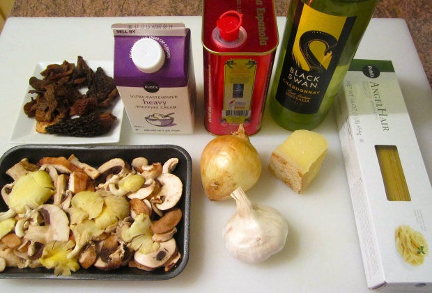 Angel Hair, Morells, Shiitake, Cepes, Baby Bellas & Oyster Mushrooms, Cream, White Wine, Onion, Garlic, Olive Oil, Kosher Salt, Cayenne Pepper