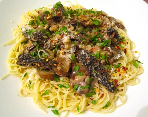 Angel Hair With Morells, Shiitake, Ceppes, Baby Bellas & Oyster Mushrooms In Cream Sauce