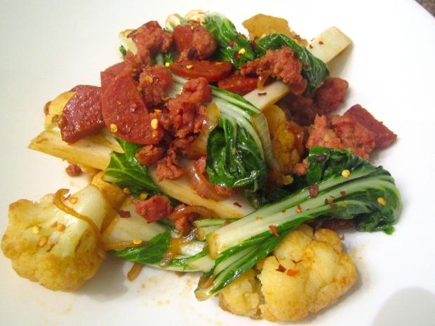 Sauteed Italian Sausage, Chorizo, Bok Choy & Cauliflower