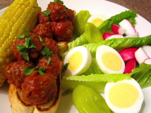 Meat Ball Sandwich - Merguez Meatballs In Harissa/Tomato Sauce On Garlic Bread