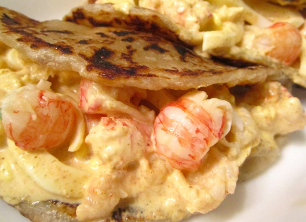 Curried Langostino And Egg Salad Wrapped In Roti Prata ( 印度煎饼 )
