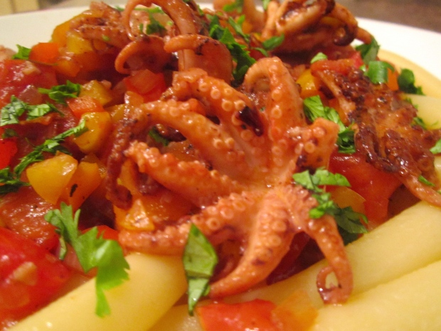 Baby Octopus In Spicy Salice Salentino/Bell Pepper Sauce Over  Lunga Ziti