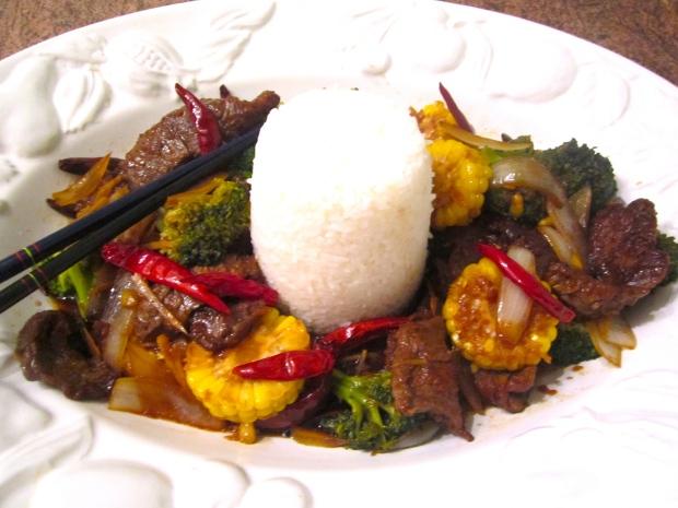 Szechuan style stir fried beef