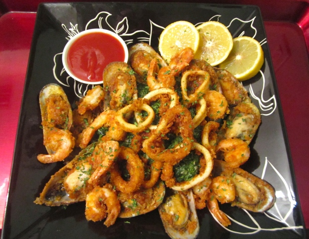 Fried Seafood, Creamed Spinach & Tonkatsu Sauce