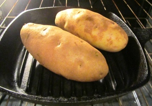 Bake large potatoes at 400F for two hours