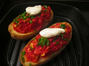 baked potato/beets, topped with sour cream and chives