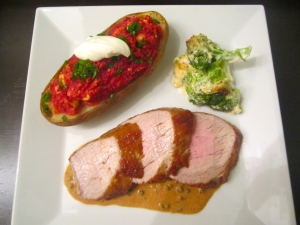 Whole Roast Pork Filet, Green Peppercorn Cream, Twice Baked Beets / Potato & Gratinated Broccoli