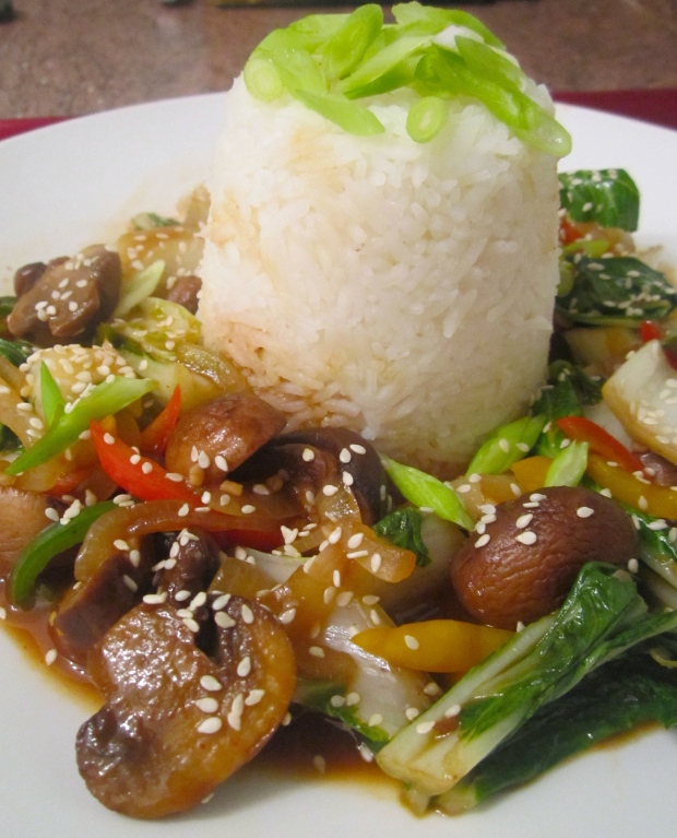 Stir Fried Crimini & Bok Choy In Special Sauce