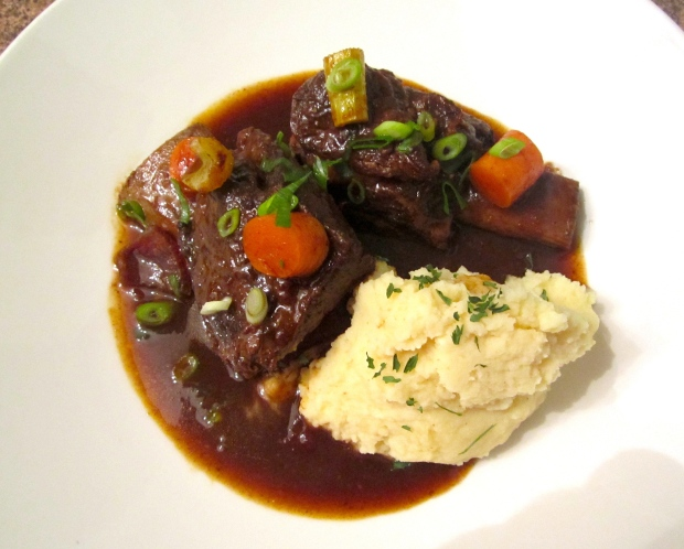 Beef Short Rib's Braised In Merlot With Garlicky Mashed Potatoes