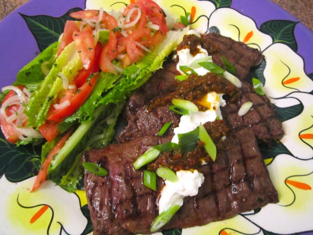 Grilled Skirt Steak, Spicy chimichurri, Greek Yoghurt & Salad In Honey ...