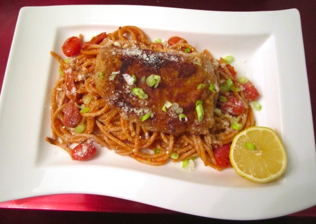 Breaded Pork Cutlet, Bucatini & Hans' Special Pasta Sauce