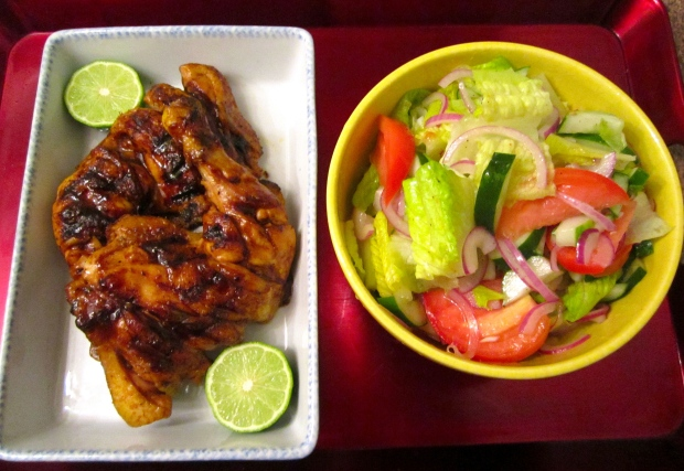 hoi sin grilled chicken leg's with simple salad in white balsamic vinaigrette