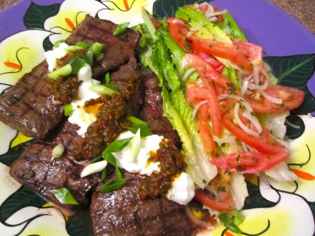 season steaks with sea salt, granulated garlic and freshly ground black papper