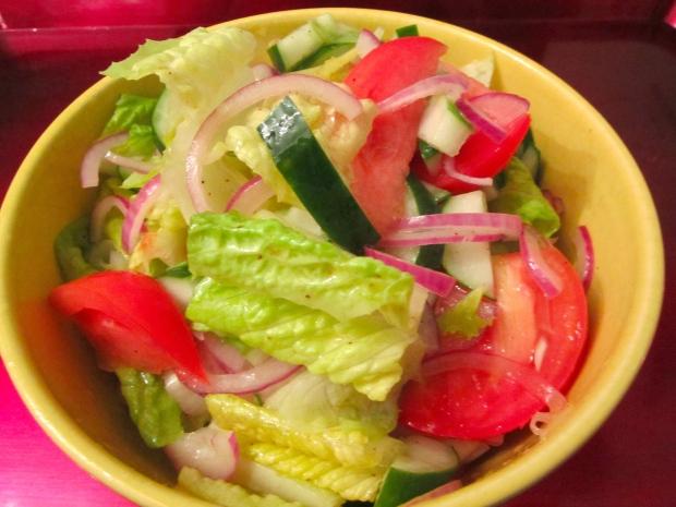 simple salad in white balsamic vinaigrette