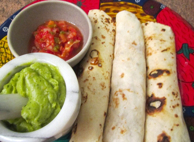 serve with guacamole and salsa mexicana