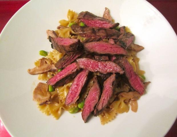 Grilled Skirt Steak & Mushroom Farfalle With Edamame