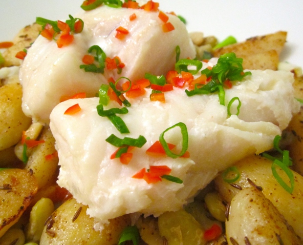 Steamed Cod With Caraway Potatoes, Lima Beans And Tomato Sauce