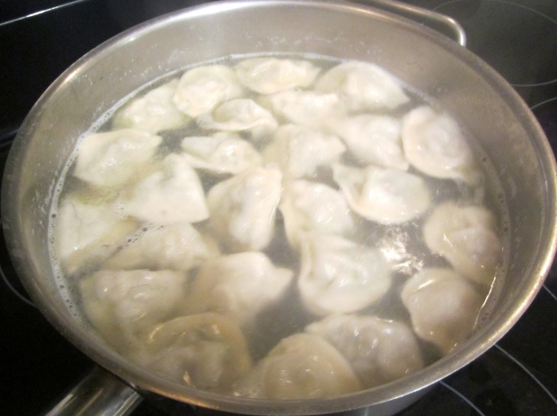 boiling pork and shrimp dumplings