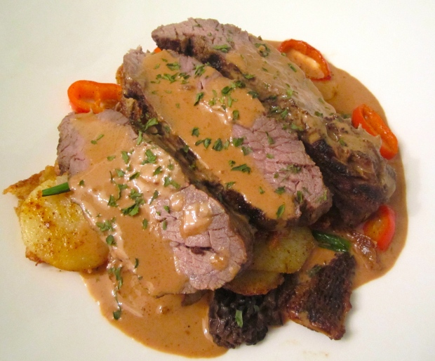 Rump Cap With Sauteed Potatoes, Morels And Cognac Cream