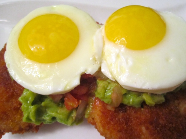 top with sunny side up egg's