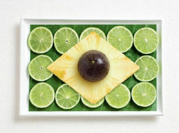 Brazil -  banana leaf, limes, pineapple and passion fruit