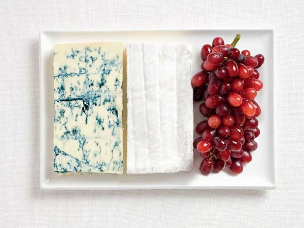 France -  blue cheese, brie cheese and grapes