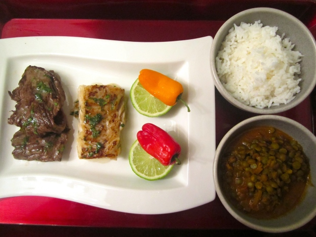Surf & Turf - Striploin, Cod Filet, Coconut Rice And Curried Lentils