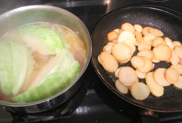 meanwhile, saute blanched potato slices in duck fat, season with salt and pepper